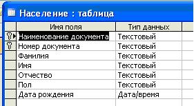 курсовая по базам данных access учёт населения