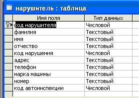 Готовая база данных учёт автонарушителей в ГАИ